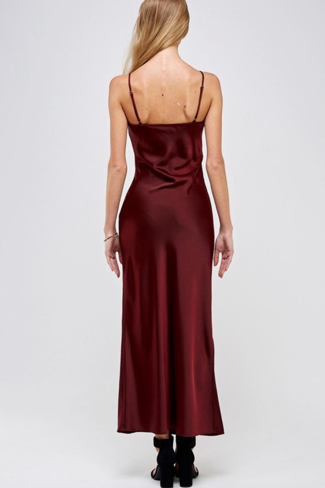 essue Wine Slip Dress - Back Cropped Image