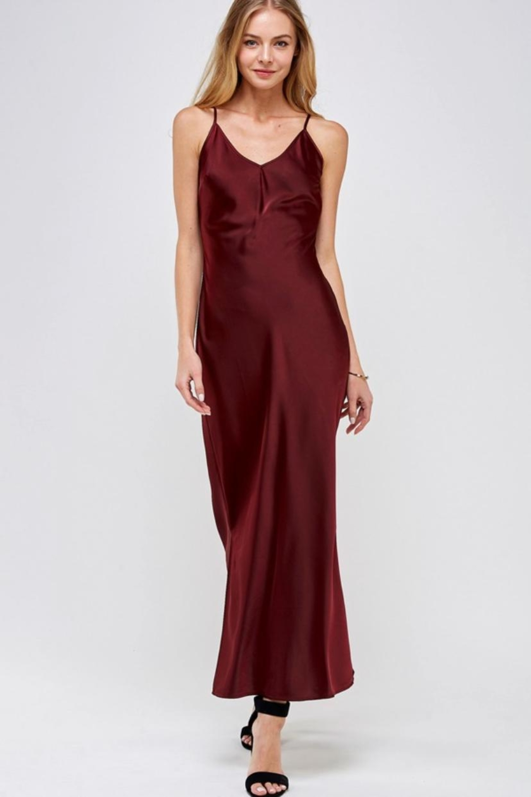 essue Wine Slip Dress - Main Image
