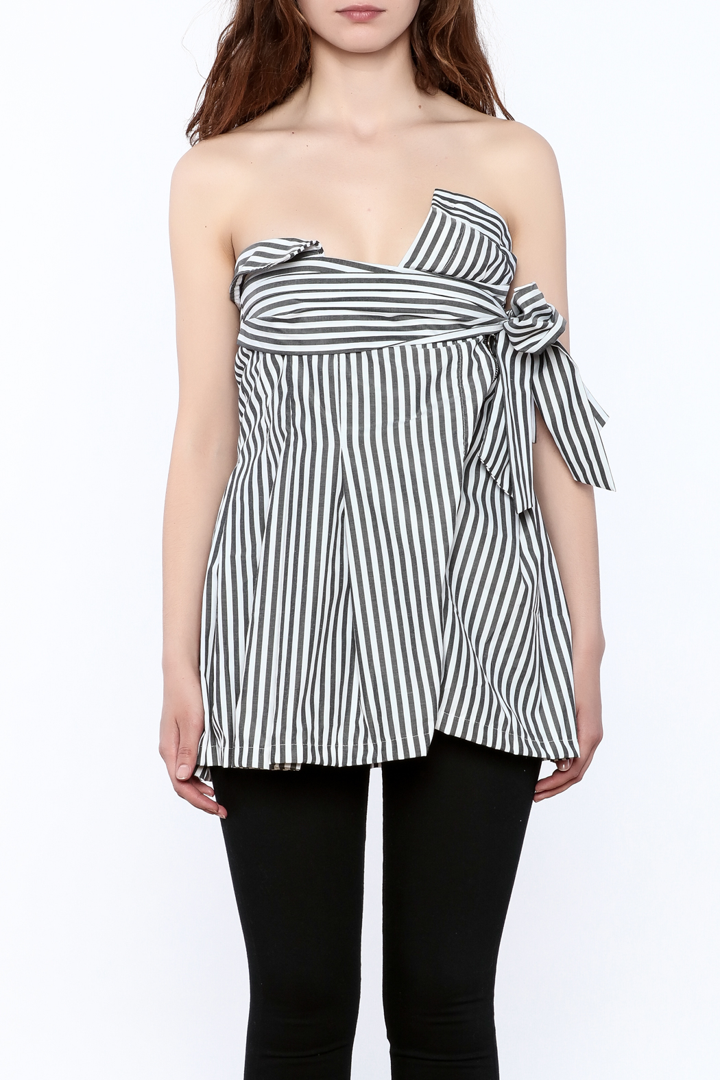 essue Stripe Strapless Top - Side Cropped Image