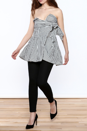 essue Stripe Strapless Top - Front full body
