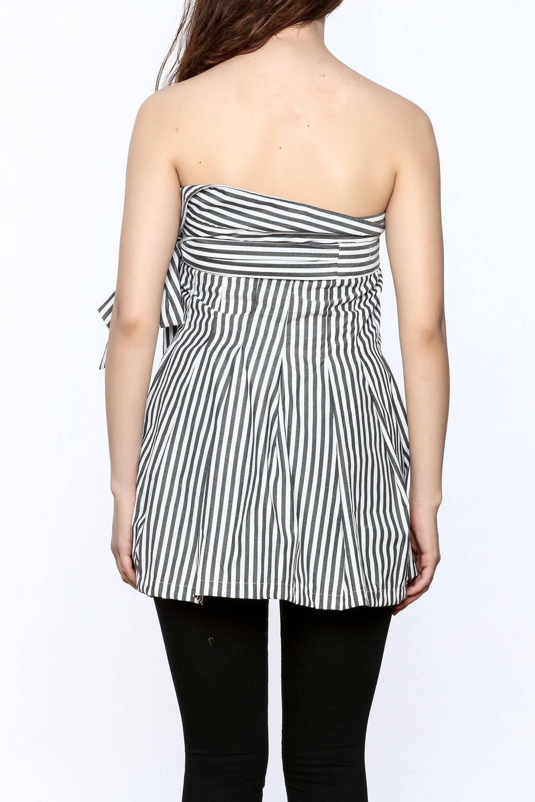 essue Stripe Strapless Top - Back Cropped Image