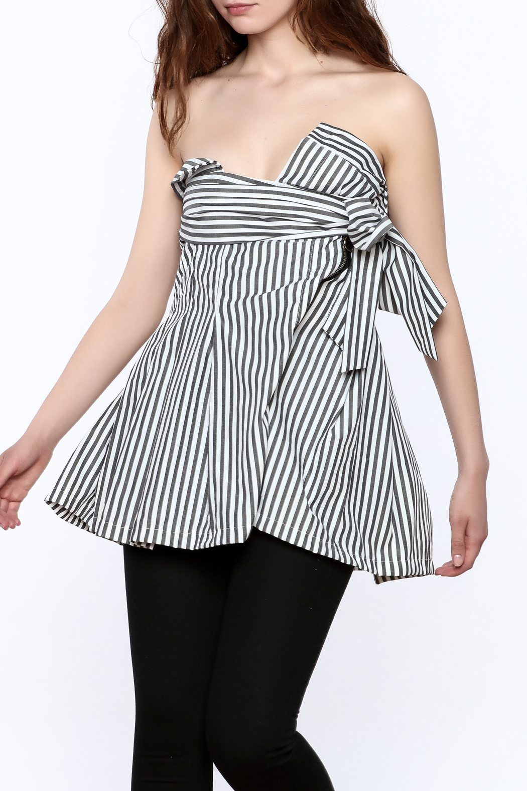 essue Stripe Strapless Top - Front Cropped Image