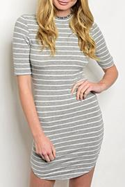 Estam Grey Stripe Dress - Product Mini Image