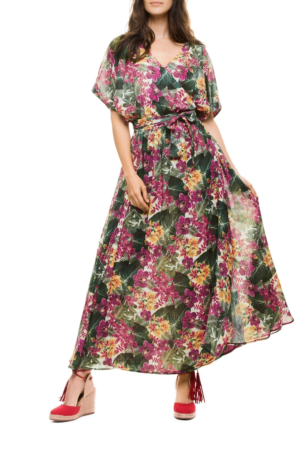 Estivo Flor Wrap Dress - Front Cropped Image