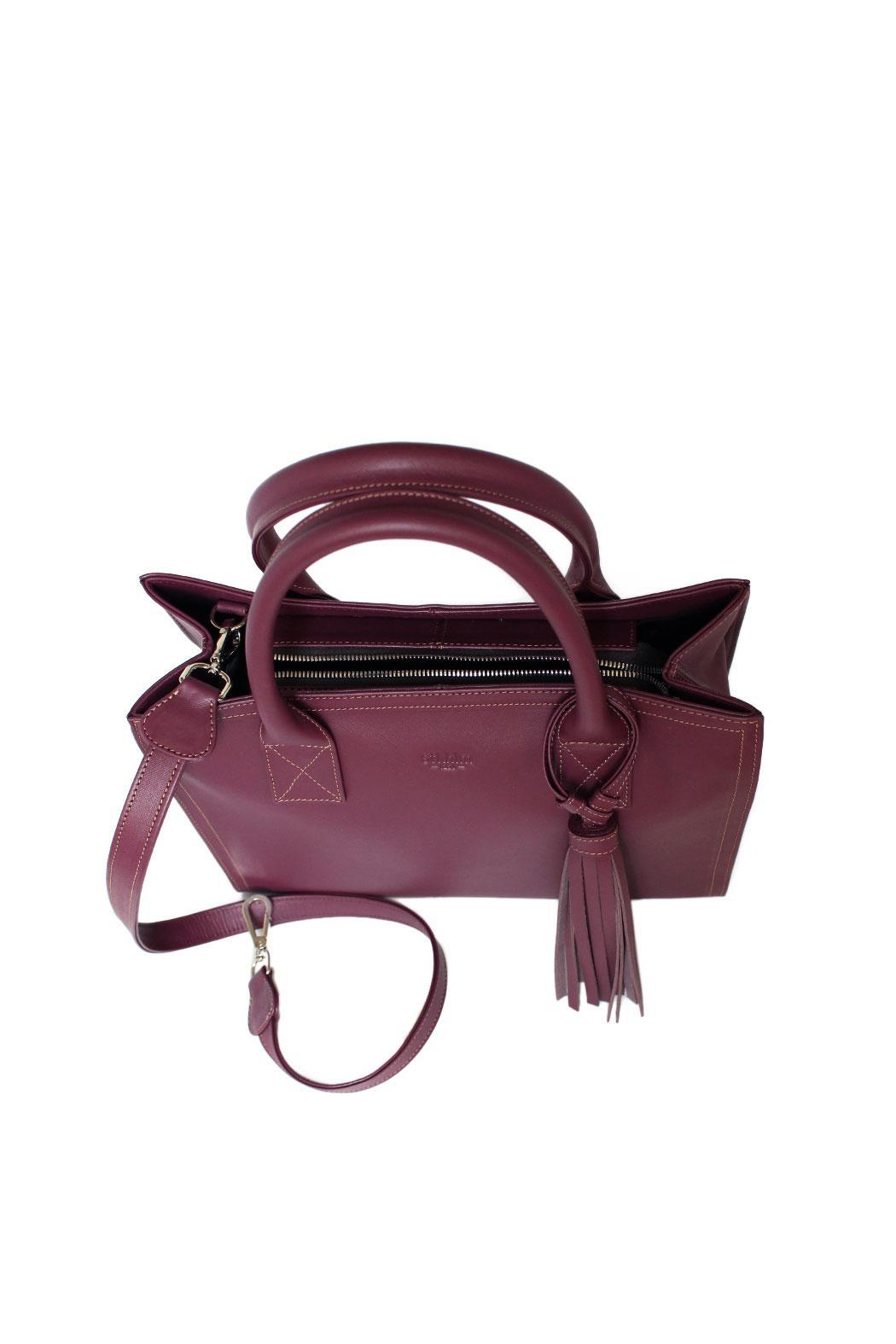 estocolmoapparel Purple Leather Handbag - Back Cropped Image
