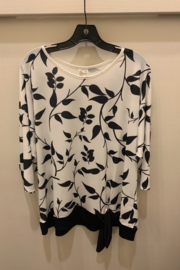 Et Lois Black & White Top with Leaf Print - Front cropped