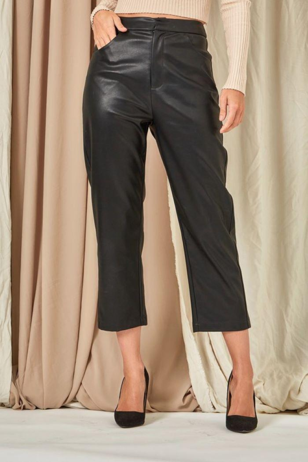 Et Clet Cropped Faux Leather Pants - Back Cropped Image