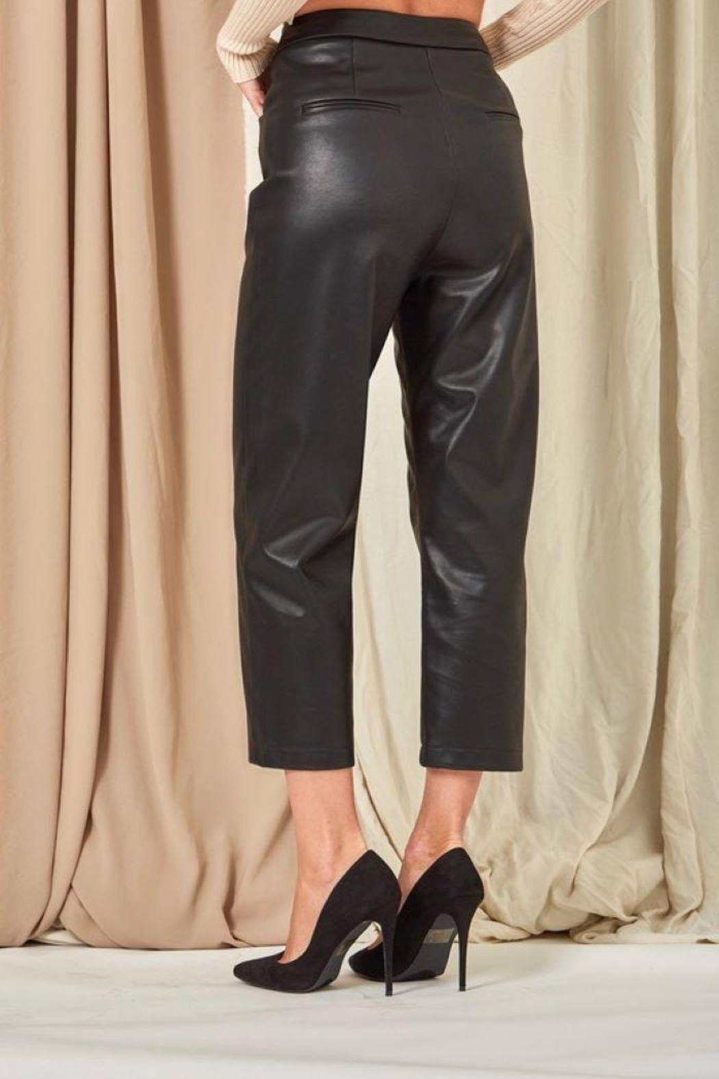 Et Clet Cropped Faux Leather Pants - Front Full Image