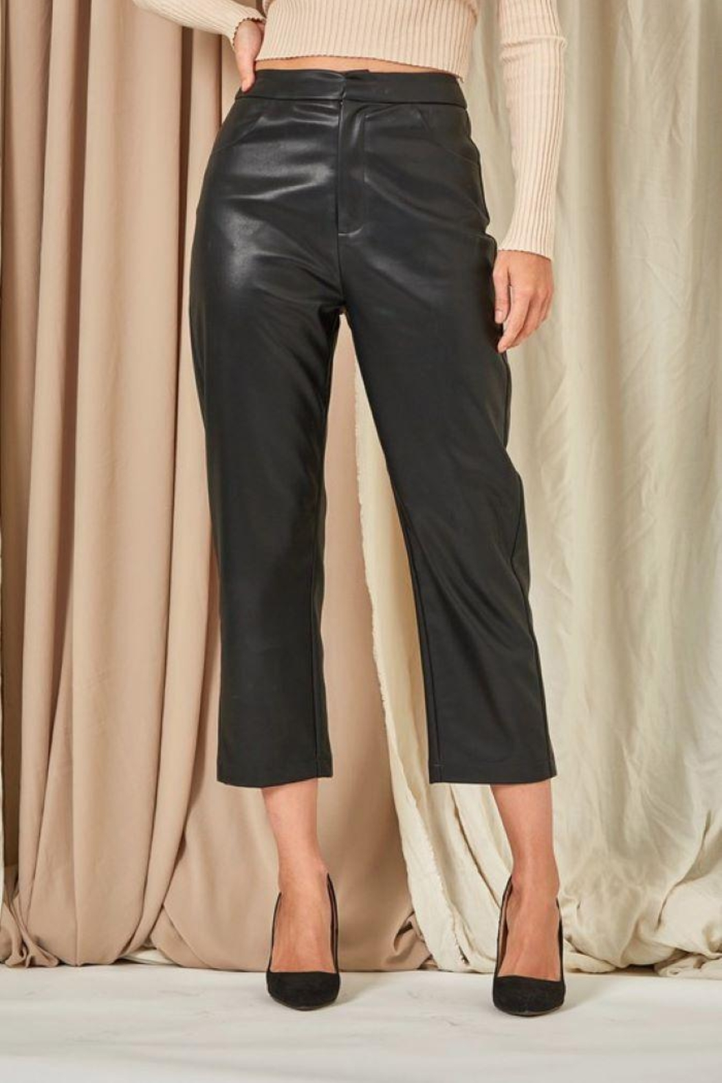 Et Clet Cropped Faux Leather Pants - Side Cropped Image