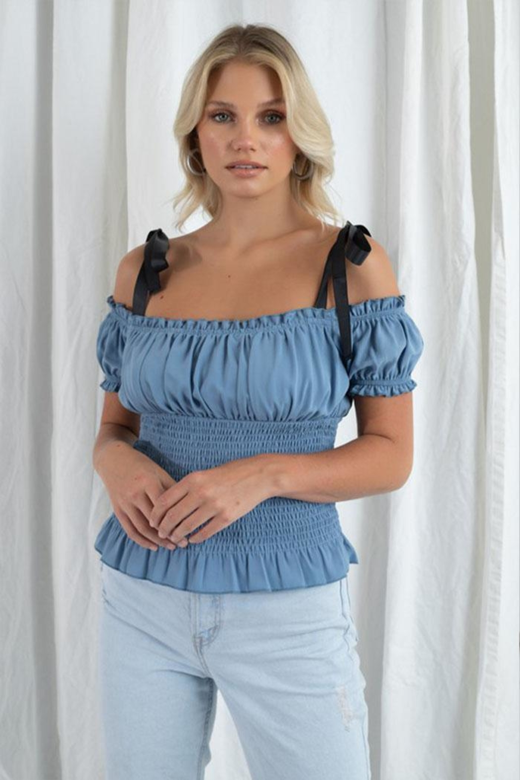 Et Clet Smocked Woven Top - Main Image