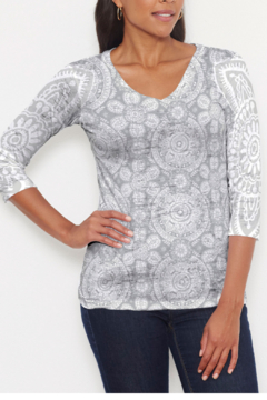 Whimsy Rose Etched Mod Grey ~ 3/4 V-Neck T - Product List Image