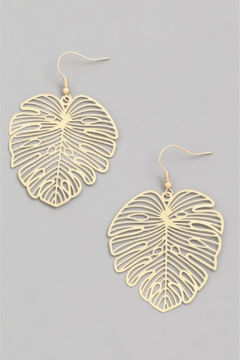 Fame Accessories Etched Monstera Earring - Alternate List Image