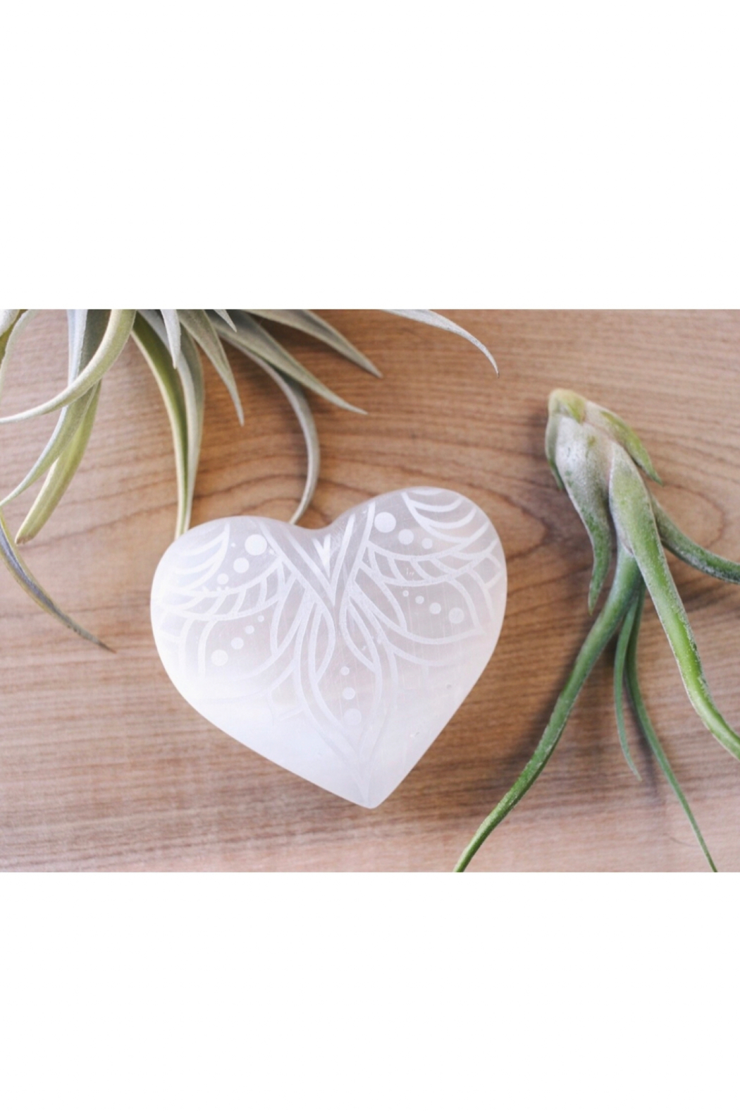 Fractalista Designs Etched Selenite Heart