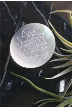 Fractalista Designs Etched Selenite Palmstone