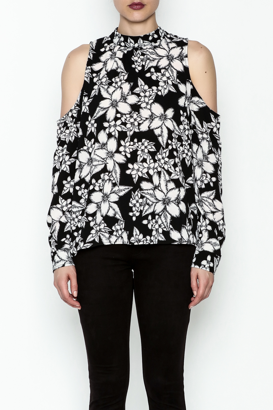 Ethereal Cold Shoulder Printed Blouse - Front Full Image