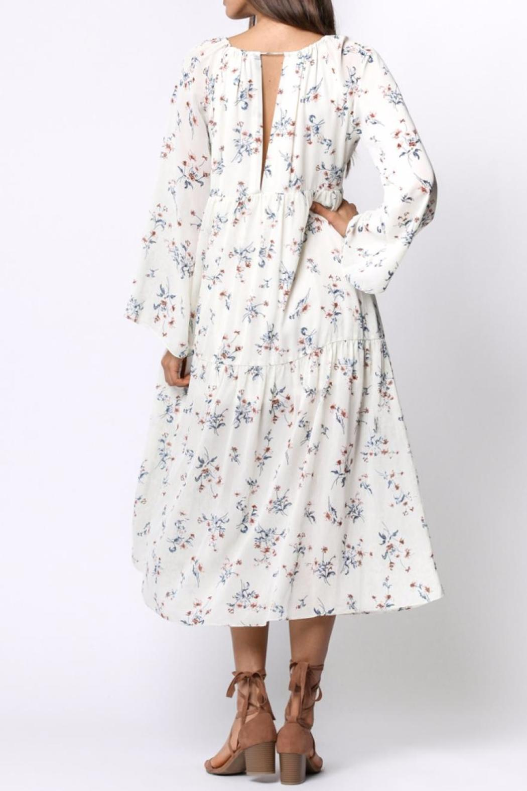 Ethereal Floral Midi Dress - Back Cropped Image