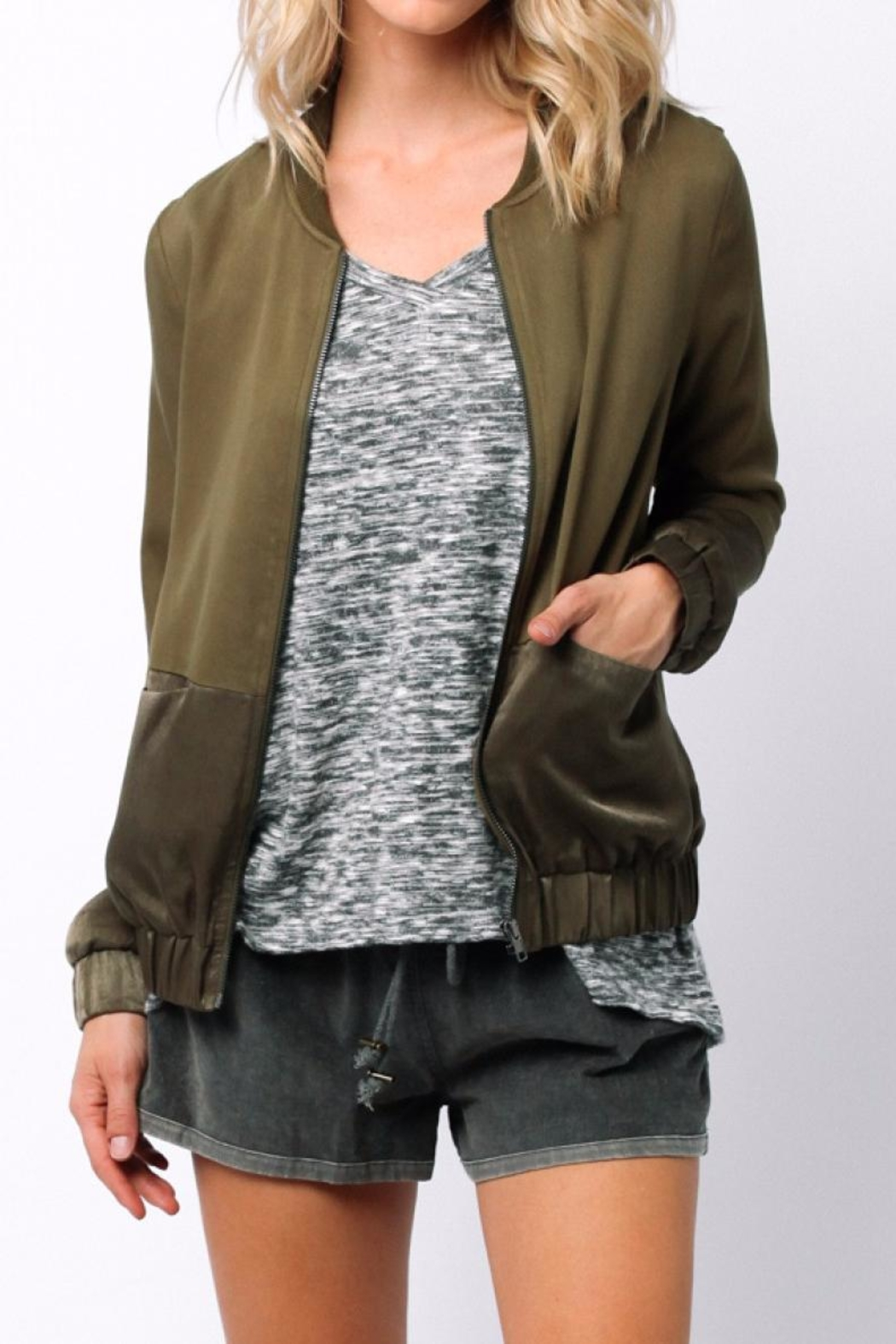 Ethereal Green Bomber Jacket - Front Full Image