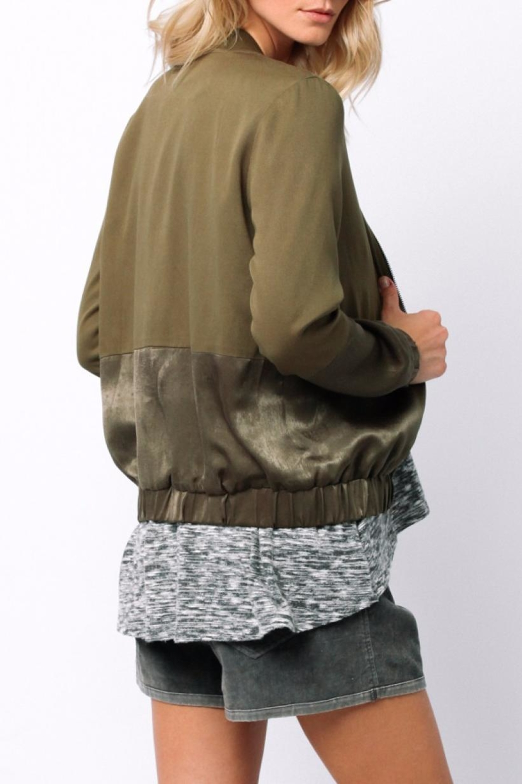 Ethereal Green Bomber Jacket - Side Cropped Image