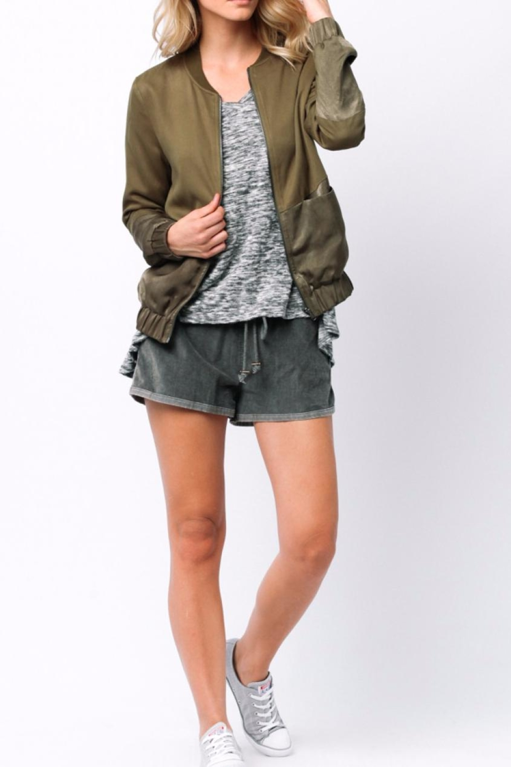 Ethereal Green Bomber Jacket - Back Cropped Image
