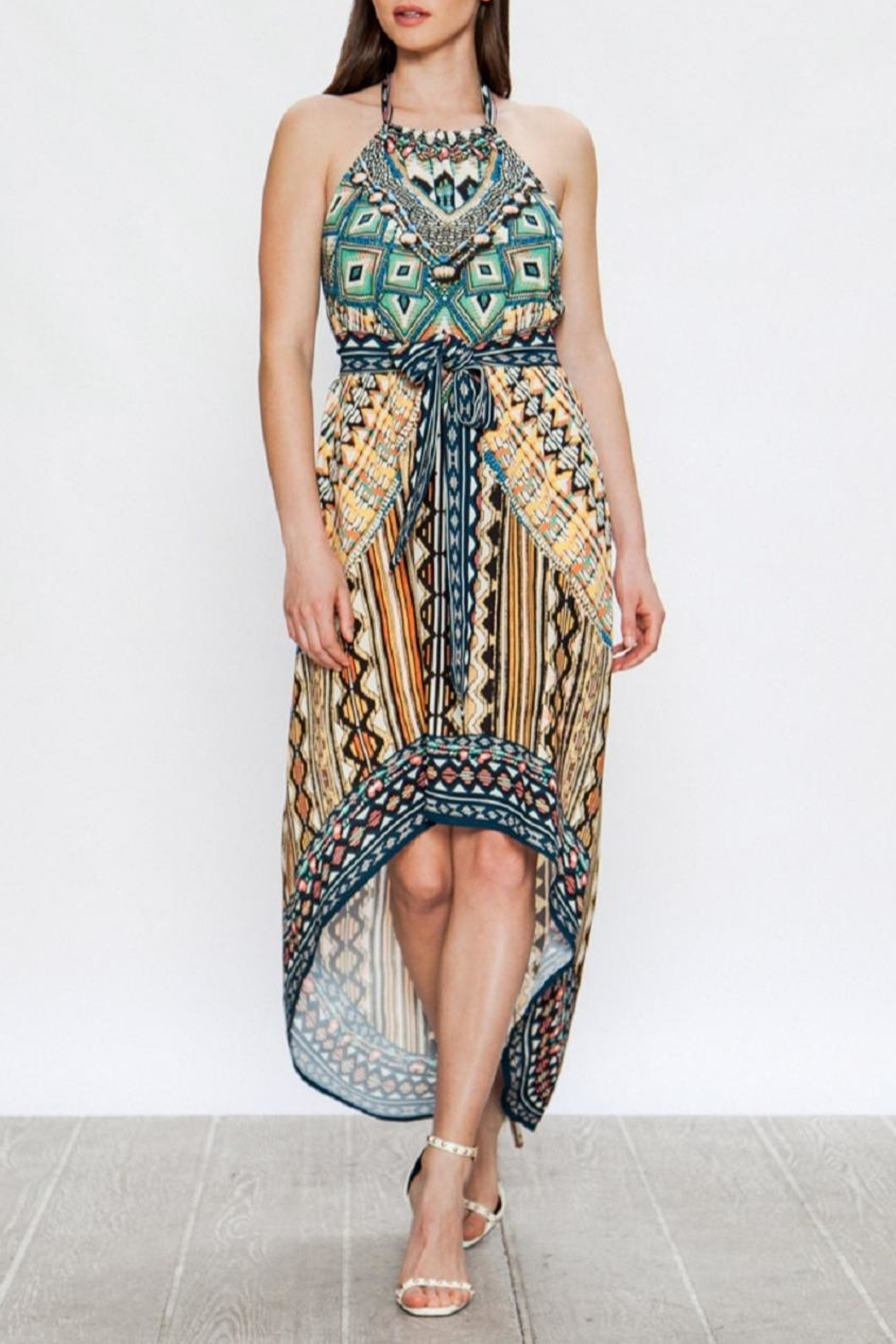 Jealous Tomato Ethnic-Print Halter Dress - Front Cropped Image