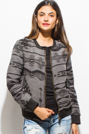 MONTREZ ETHNIC PRINT ZIP BOMBER JACKET - Product Mini Image