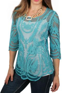 Ethyl Embroidered Crochet Top - Product List Image