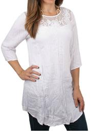 Ethyl White Crushed Tunic - Front cropped
