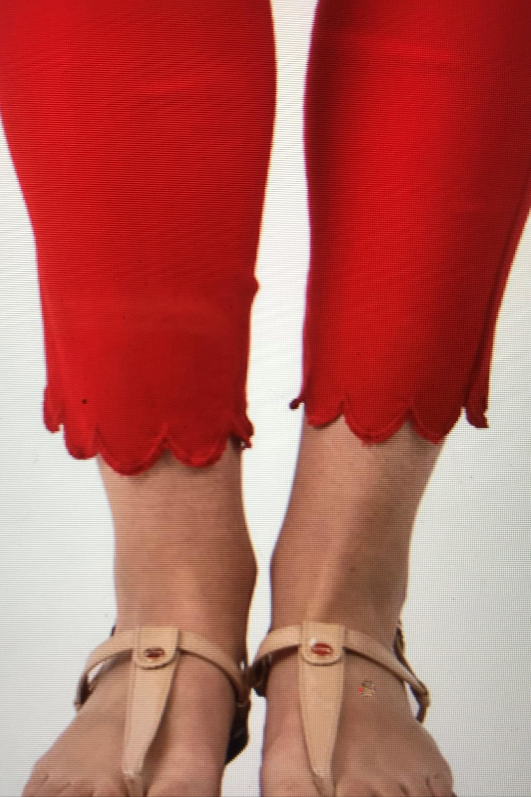 Ethyl Red Ankle Pant - Front Full Image