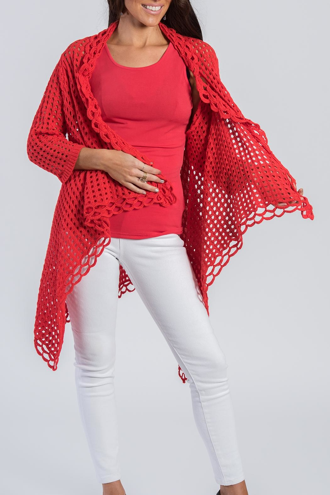 Ethyl Red Knit Cardigan - Main Image