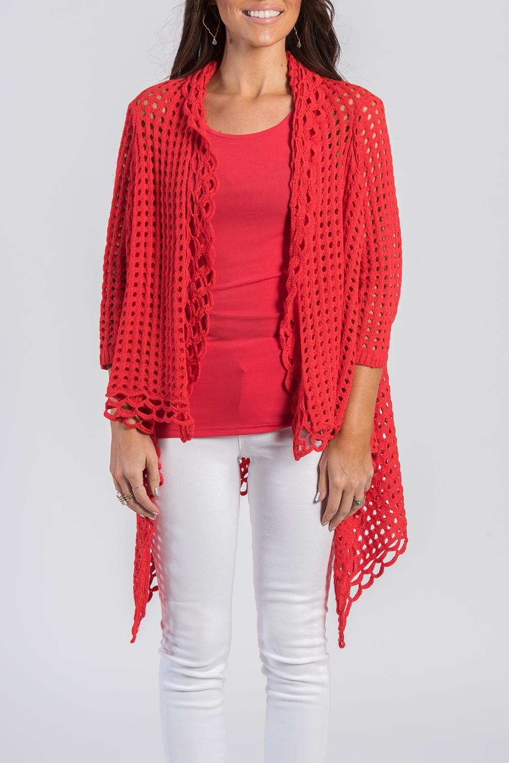 Ethyl Red Knit Cardigan - Back Cropped Image