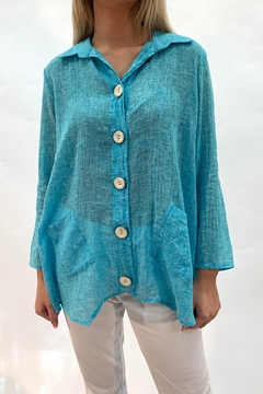 Ethyl Teal Button Top - Product List Image