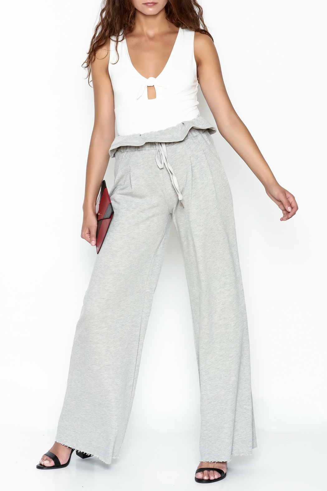etophe Ruffle Waist Knit Pants - Side Cropped Image