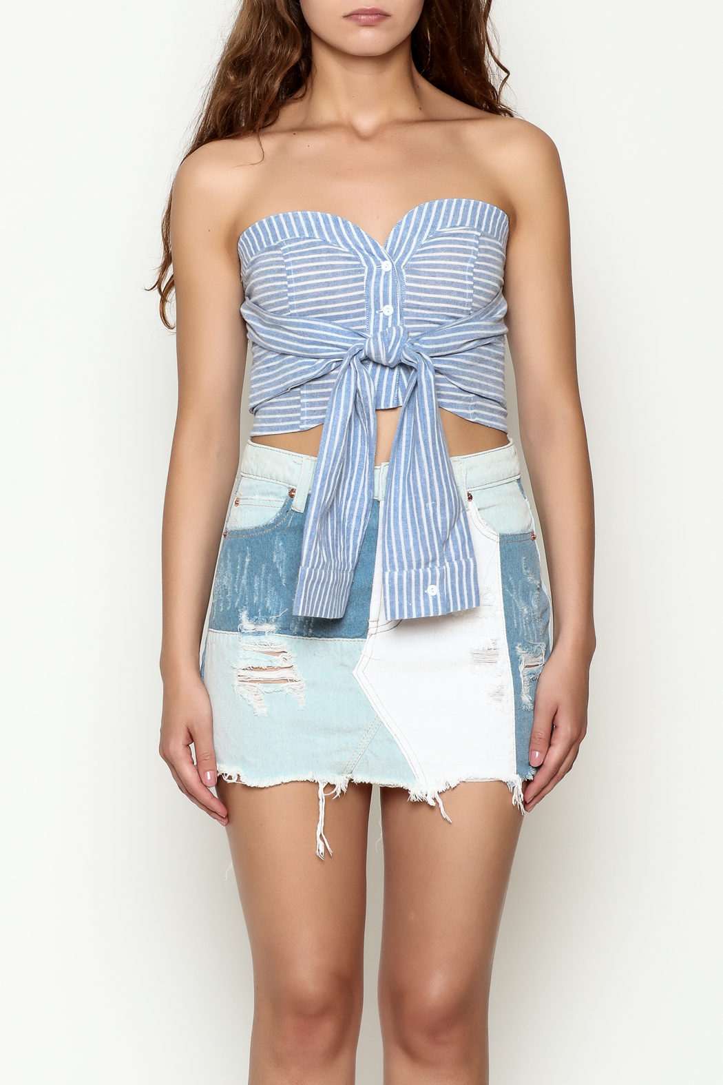 etophe studios Striped Tie Top - Front Full Image