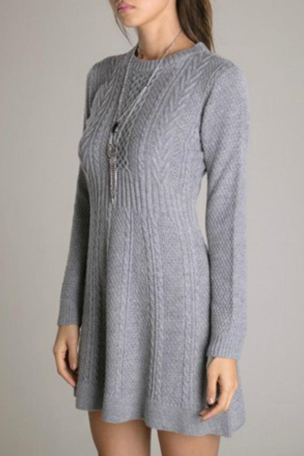 Eunishop Gray Sweater Dress - Back Cropped Image