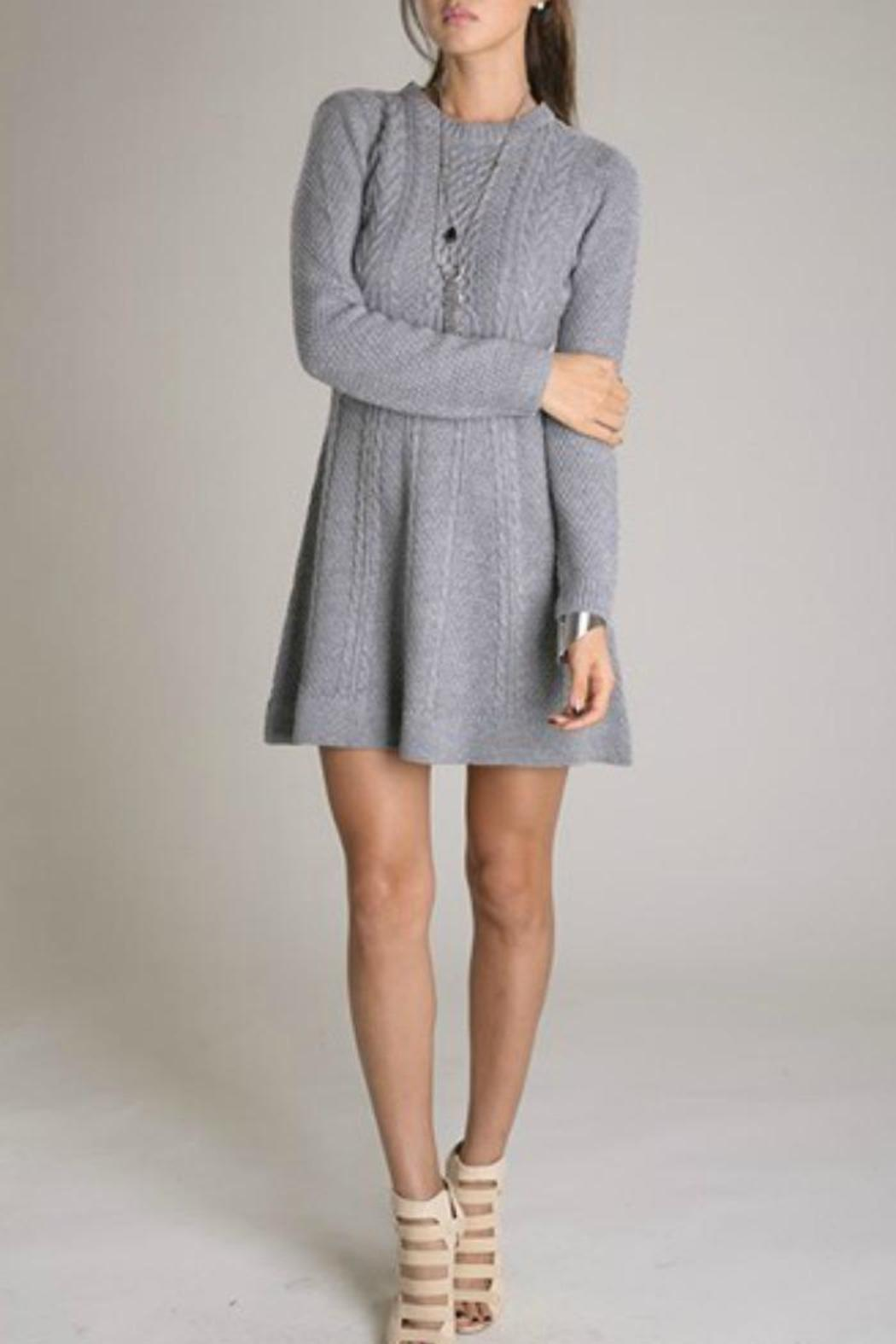Eunishop Gray Sweater Dress - Front Cropped Image