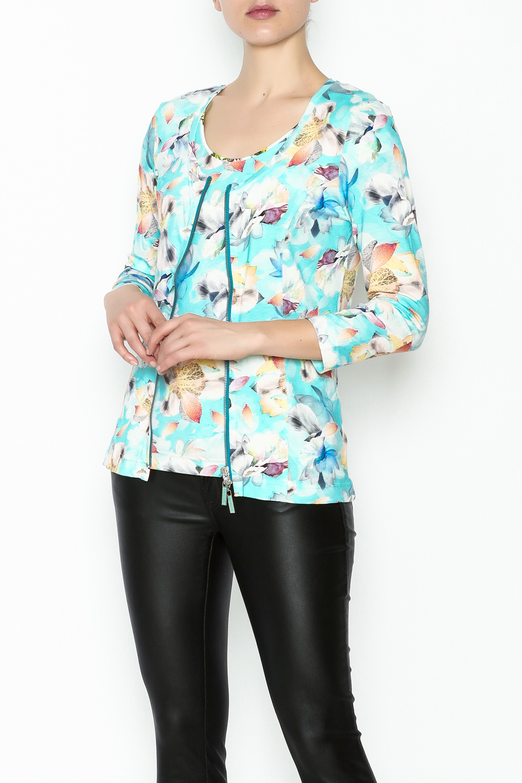 Eva & Claudi Floral Zip Top - Front Cropped Image