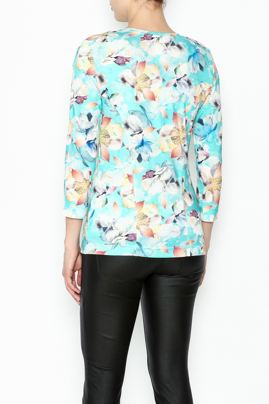 Eva & Claudi Floral Zip Top - Back Cropped Image