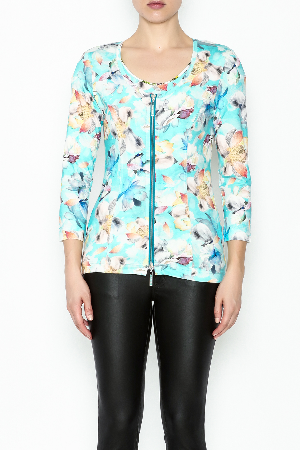 Eva & Claudi Floral Zip Top - Front Full Image