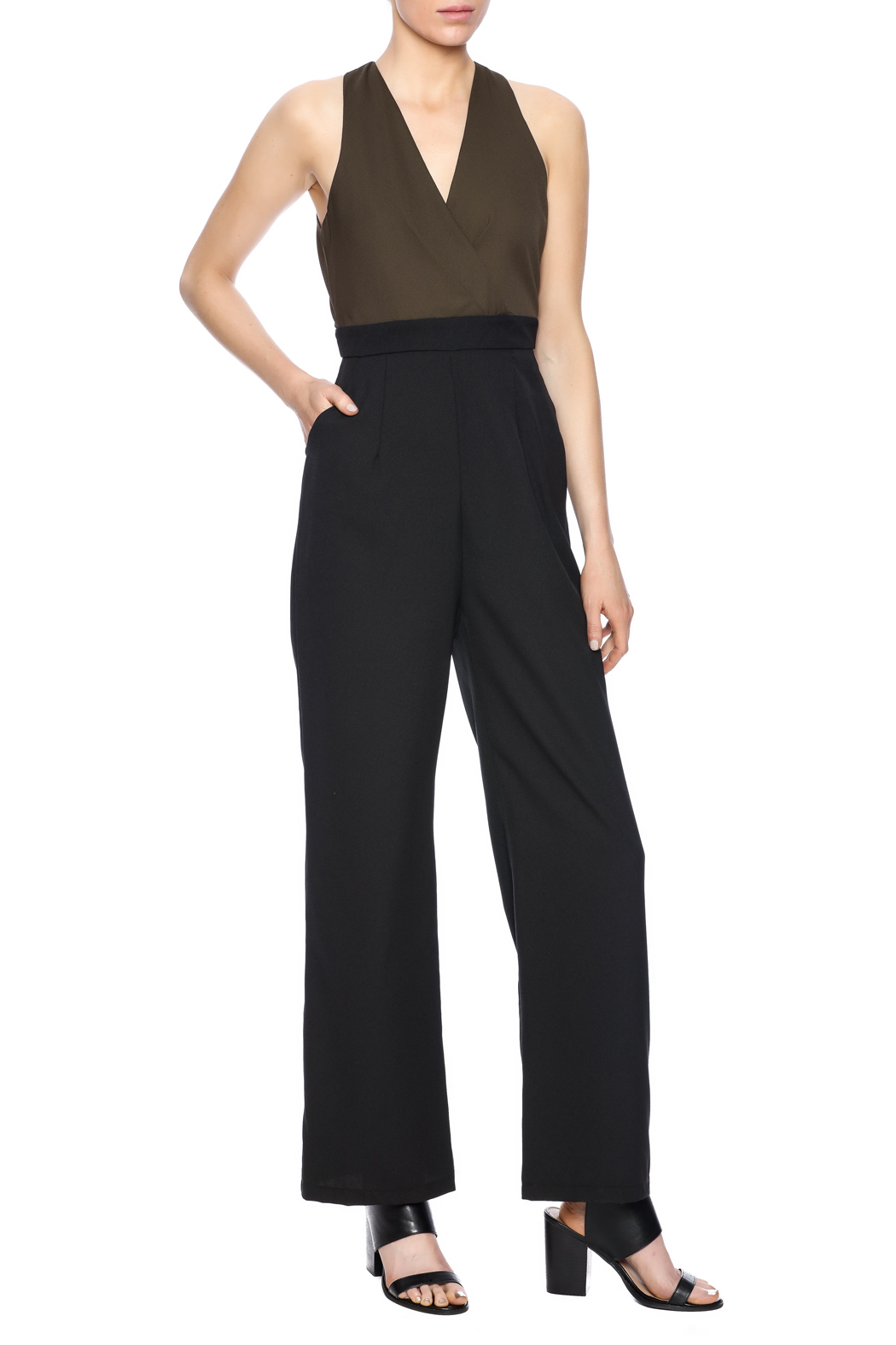 Eva & Lola Color Blocked Jumpsuit - Front Full Image