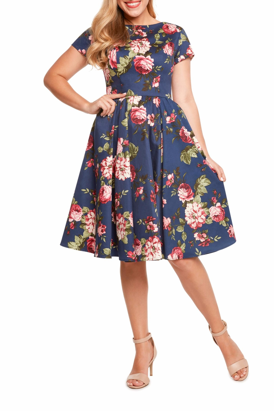 Eva Rose Classic Floral Dress - Front Cropped Image