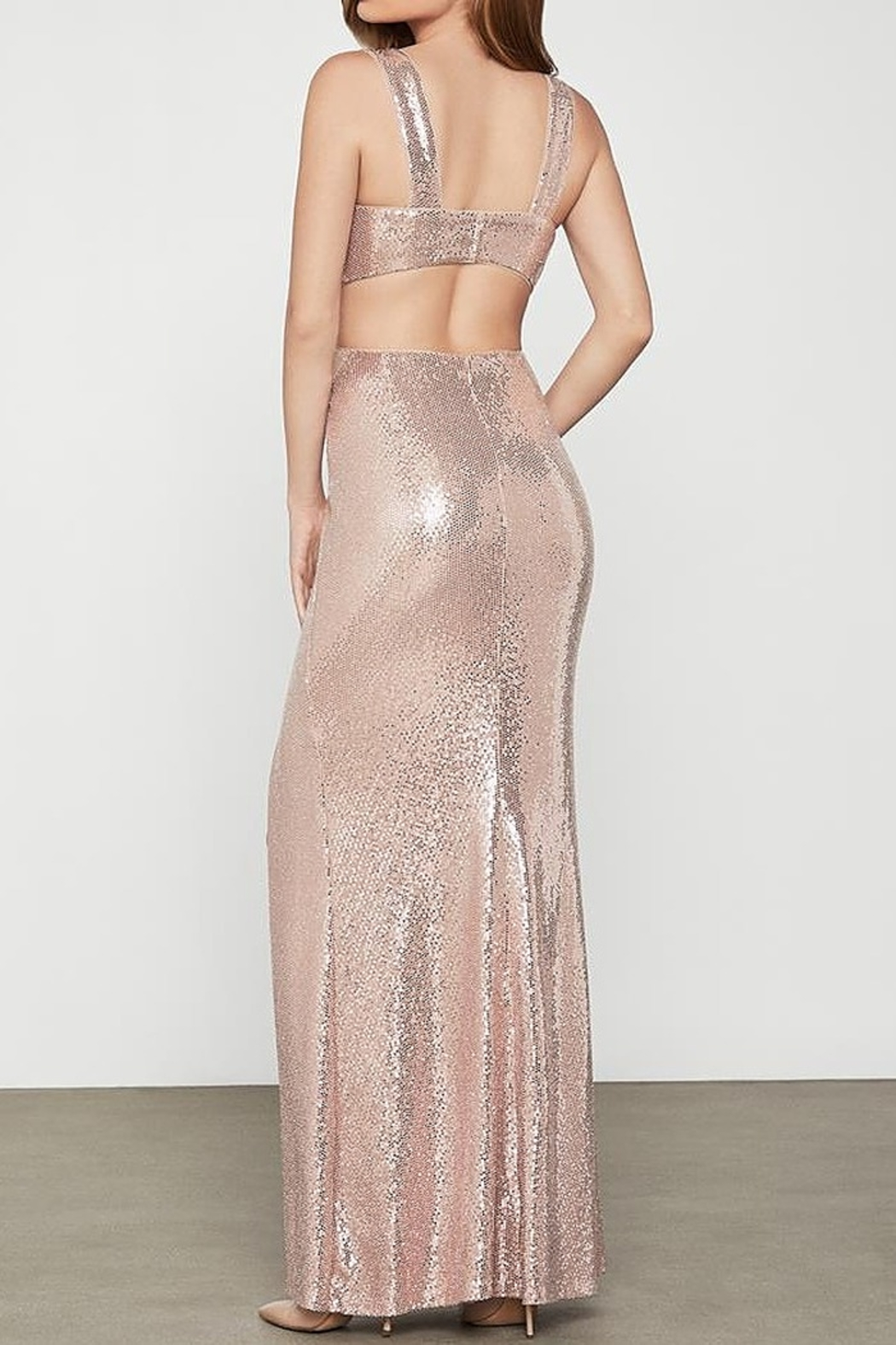 BCBG MAXAZRIA Metallic Cut-out Gown with Slit - Side Cropped Image