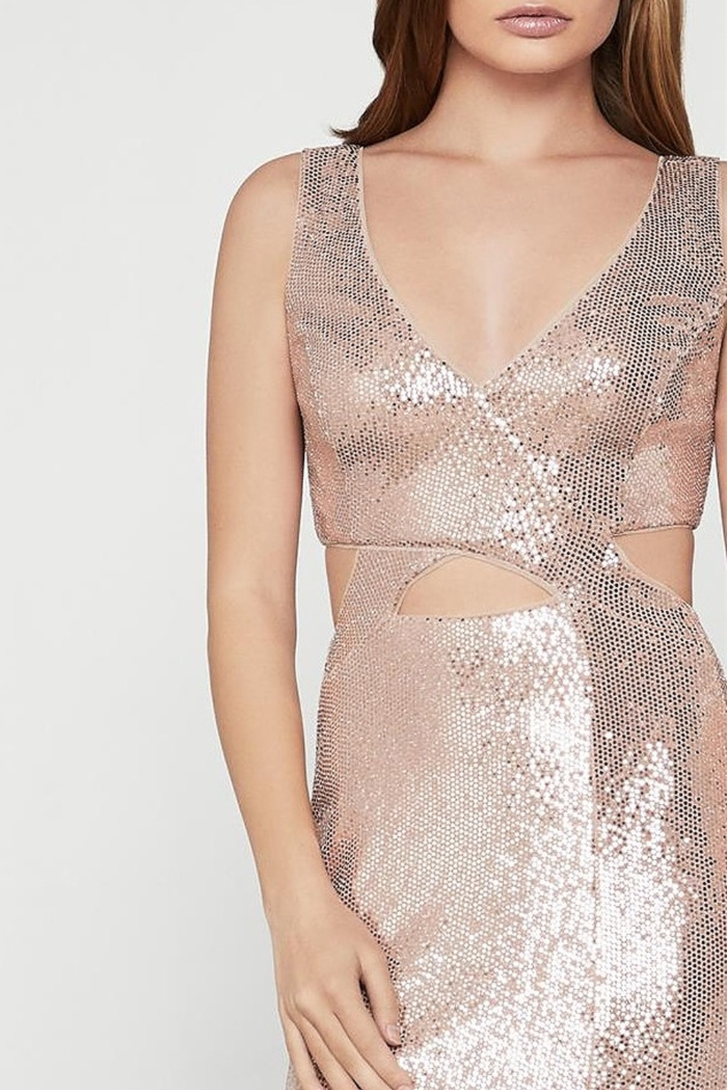 BCBG MAXAZRIA Metallic Cut-out Gown with Slit - Front Full Image