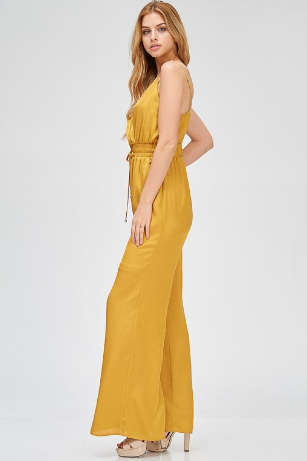 Evenuel Mustard Satin Jumpsuit - Side Cropped Image