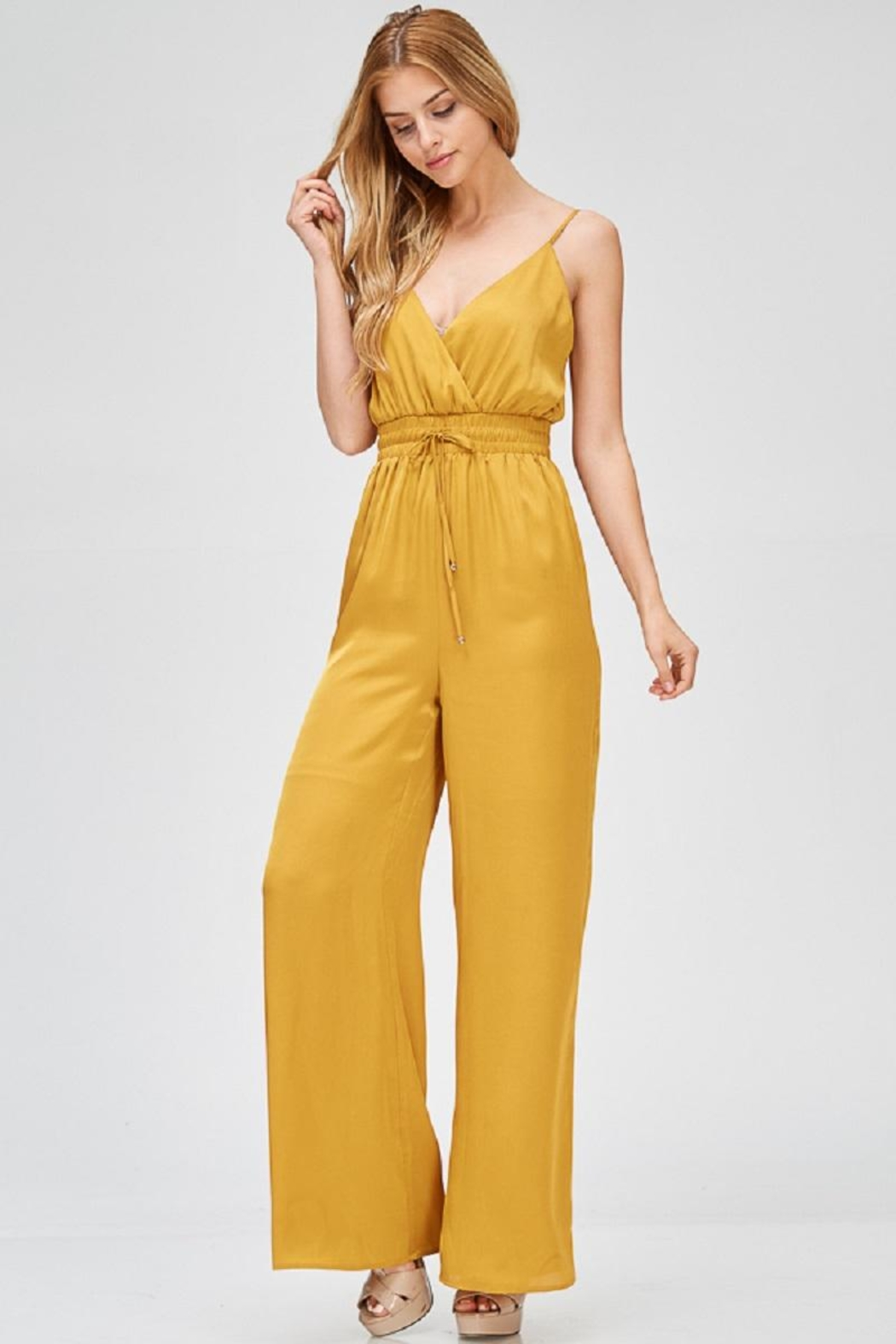 Evenuel Mustard Satin Jumpsuit - Main Image