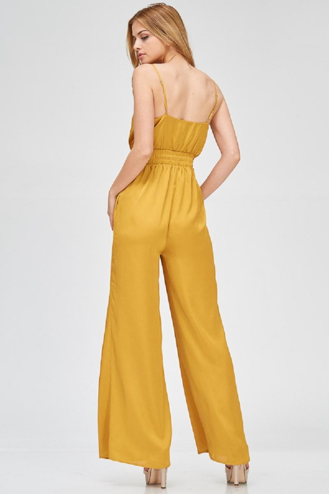 Evenuel Mustard Satin Jumpsuit - Front Full Image