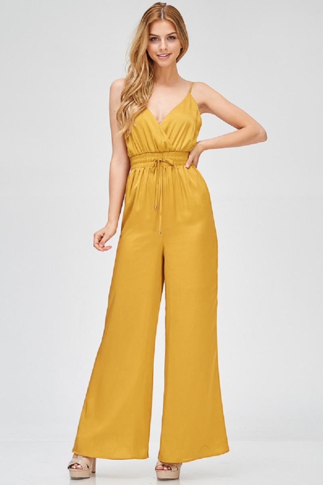 Evenuel Mustard Satin Jumpsuit - Back Cropped Image