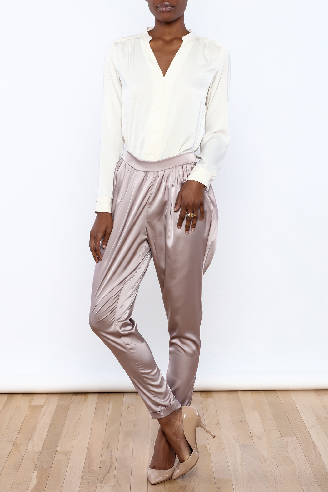 Evenuel Rose Gold Satin Pants - Front Full Image