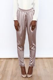 Evenuel Rose Gold Satin Pants - Side cropped