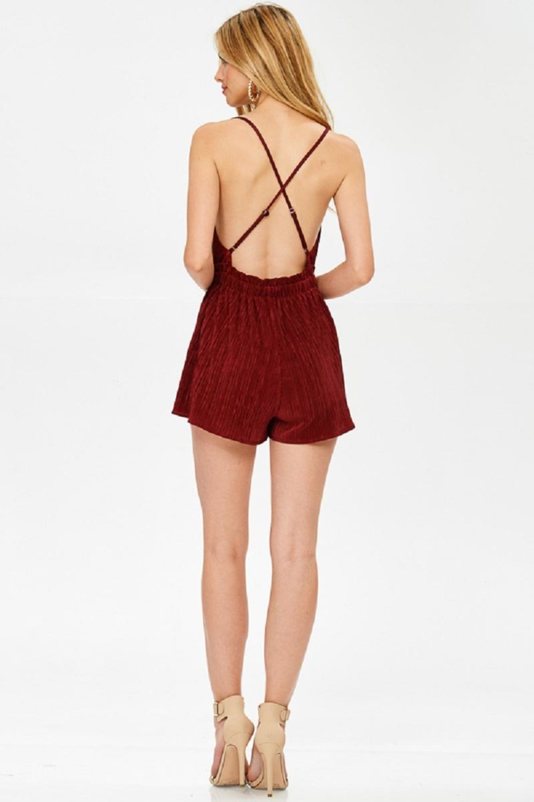 Evenuel Solid Crinkle Romper - Back Cropped Image