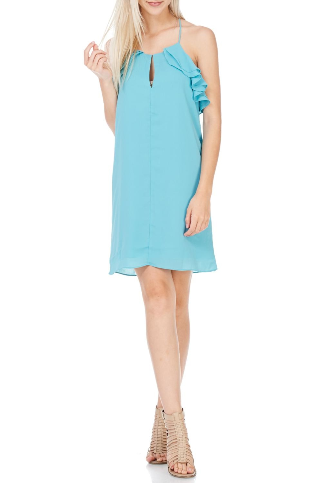 Everly Aqua Racerback Dress - Front Cropped Image